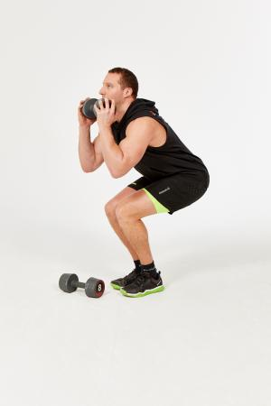 Narrow Stance Single Dumbbell Squat | GymCube