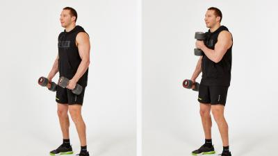GymCube, exercise library, kevin foster-wiltshire, online fitness, workouts, videos, Cross-body hammer curl