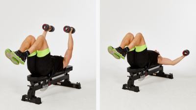 GymCube, exercise library, kevin foster-wiltshire, online fitness, workouts, videos, Flat-bench-dumbbell-flyes-with-knees-raised
