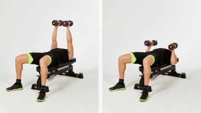 GymCube, exercise library, kevin foster-wiltshire, online fitness, workouts, videos, Flat-palm-facing-narrow-dumbbell-press