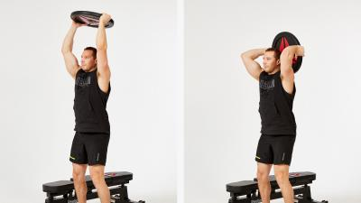 GymCube, exercise library, kevin foster-wiltshire, online fitness, workouts, videos, Plate Tricep Extensions