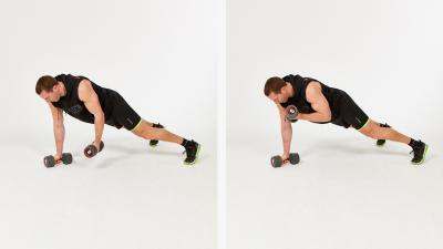 GymCube, exercise library, kevin foster-wiltshire, online fitness, workouts, videos, One-arm Plank Dumbbell Biceps Curl