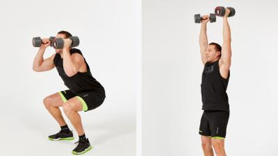 GymCube, exercise library, kevin foster-wiltshire, online fitness, workouts, videos, Dumbbell squat to shoulder press