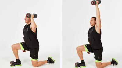 GymCube, exercise library, kevin foster-wiltshire, online fitness, workouts, videos, Hold-kneeling dumbbell shoulder press
