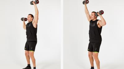 GymCube, exercise library, kevin foster-wiltshire, online fitness, workouts, videos, Standing alternating dumbbell press