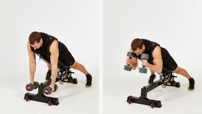 GymCube, exercise library, kevin foster-wiltshire, online fitness, workouts, videos, Two Dumbbell Prone Bench Bicep Screw Curl